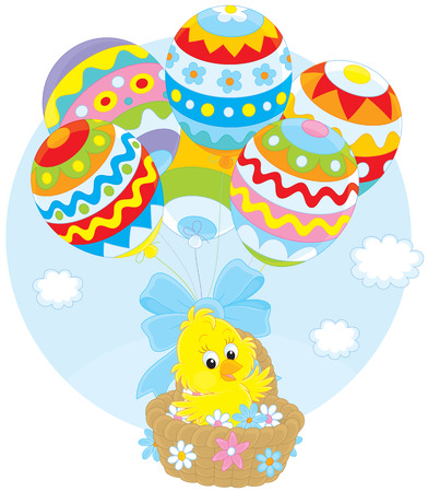 ballooning: Easter Chick flies with balloons Illustration