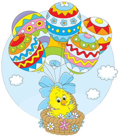 hot chick: Easter chicken flying in a basket with balloons