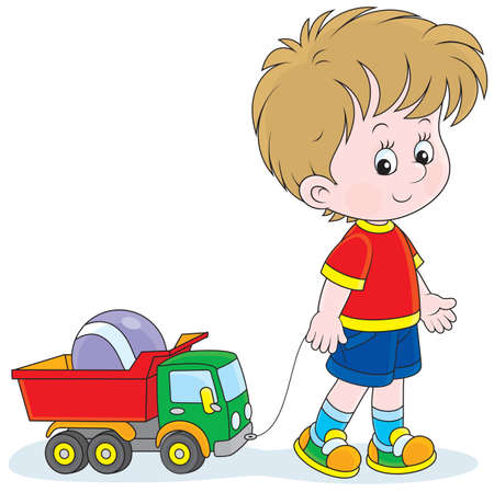 child of school age: Little boy pulling a toy truck with a ball