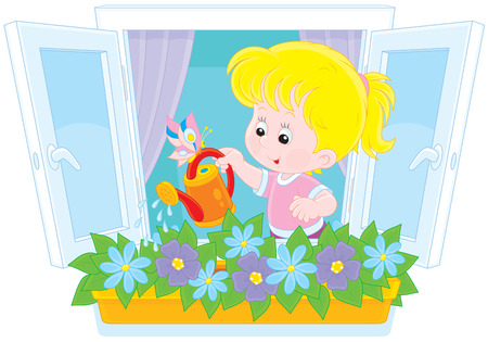 sprinkling: Girl watering flowers Illustration