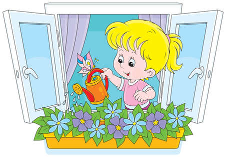 flower age: Little girl watering flowers on a windowsill