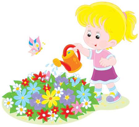 abloom: Ni�a que riega las flores en un macizo de flores Vectores