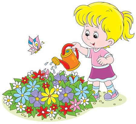 abloom: Chica regando flores Vectores