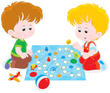 game over: Boys playing with a boardgame Illustration