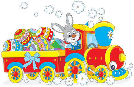 Easter rabbit on a toy train carries decorated eggs  Vector