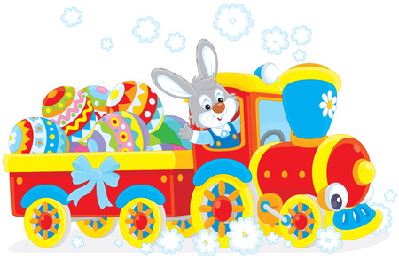 Easter Bunny on a train Vector
