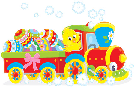 Easter Chick on a toy train carrying Easter eggs  Vector