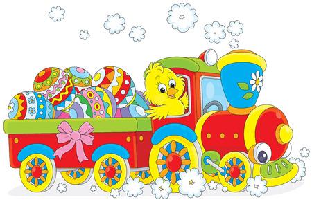 tren caricatura: Polluelo de Pascua en un tren de juguete que lleva los huevos de Pascua Vectores