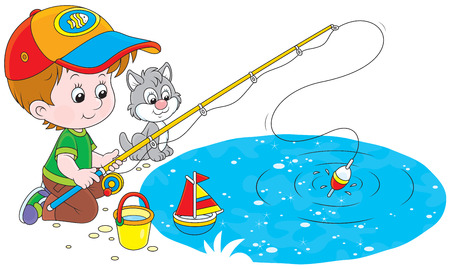 angling rod: Boy and a small kitten fishing on a pond Illustration