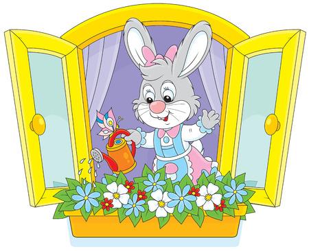 conejo caricatura: Conejito Pascua flores de riego