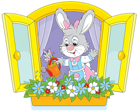 cartoon window: Easter Bunny watering flowers