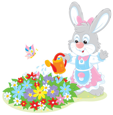 sprinkling: Little rabbit watering flowers on a flowerbed Illustration