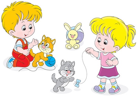 cartoon little girl: Children play with kittens