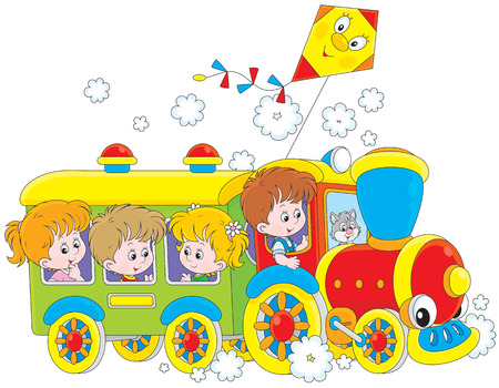 cartoon little girl: Children travel by train Illustration