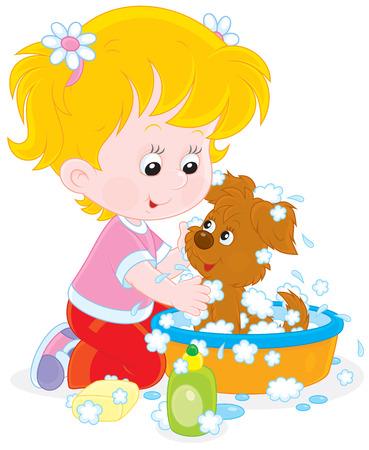 wash basin: Girl washing a puppy Illustration