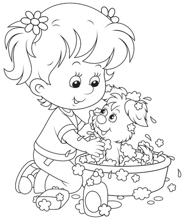 Girl washing her puppy Vector