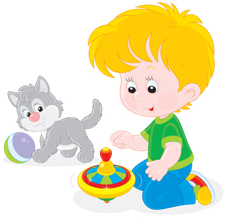 Little boy playing with a kitten and a humming-top Illustration