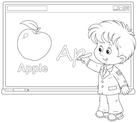 first grader: Schoolboy at the interactive whiteboard