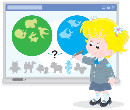 first grade: Schoolgirl at the interactive whiteboard