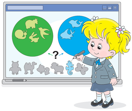 Schoolgirl works with an interactive whiteboard Illustration