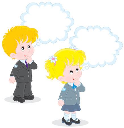 schooldays: Schoolchildren solve a problem Illustration