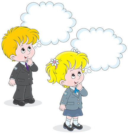 schooldays: Schoolgirl and schoolboy thinking about a question
