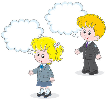 first grader: Schoolgirl and schoolboy answering a question