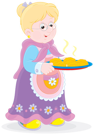 Grandmother with a tray of freshly baked patties Vector