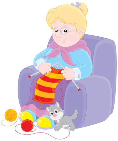 Granny knitting Illustration