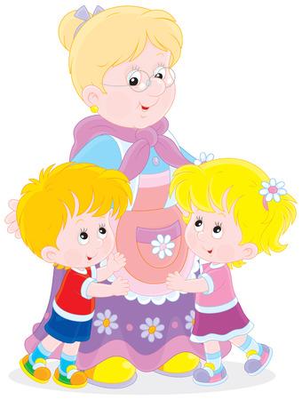 Grandmother hugging her little grandchildren