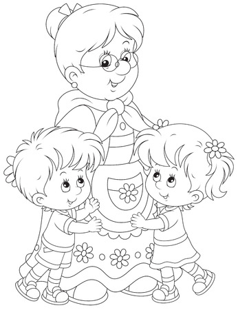 Granny and her grandchildren Vector