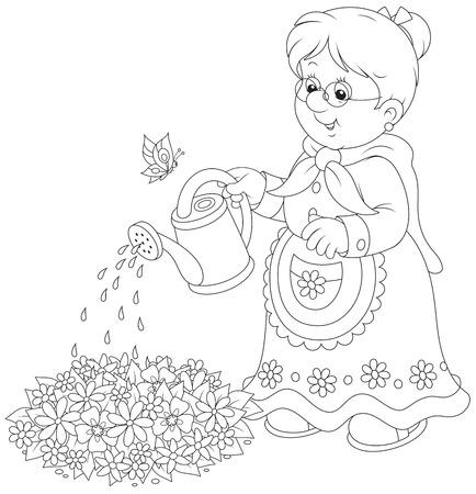 abloom: Granny regando flores en un macizo de flores