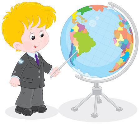 first grader: Schoolboy and globe