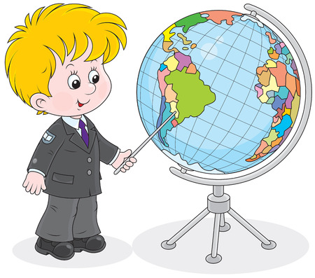 schooldays: Schoolboy points to a country on a big globe Illustration