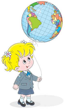 schooldays: schoolgirl holding a balloon colored like a globe