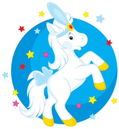 Little white horse dancing in a circus Vector