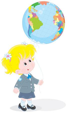 first grader: Schoolgirl with a globe - balloon Illustration