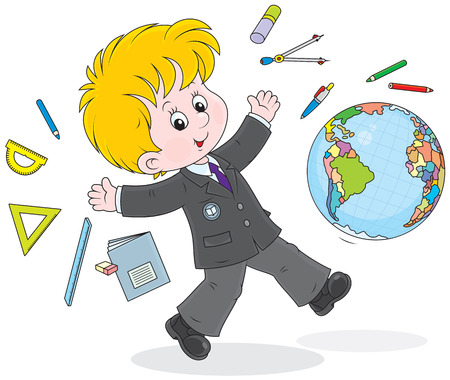 schoolboy running after lessons  Vector