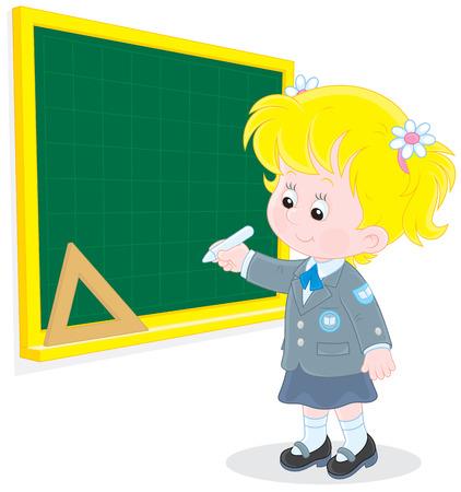first grader: Schoolgirl writes on the blackboard with chalk
