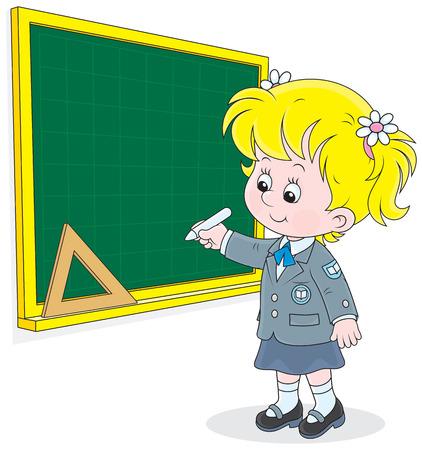 schooldays: Schoolgirl writes on the blackboard with chalk