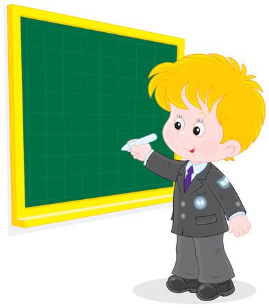 first grader: Schoolboy writes on the blackboard with chalk