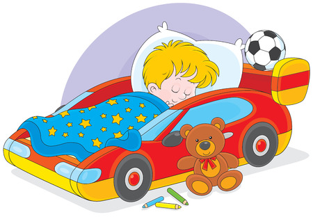 child of school age: Little boy sleeps in his bed made as a sport car Illustration