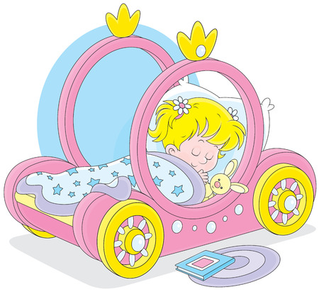 Little girl sleeps in her bed - carriage of a princess Stock Vector - 27667478
