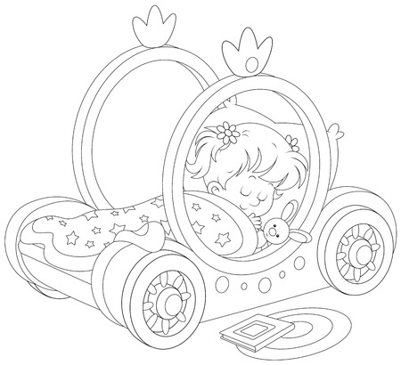 Little girl sleeps in her bed - carriage of a princess Vector