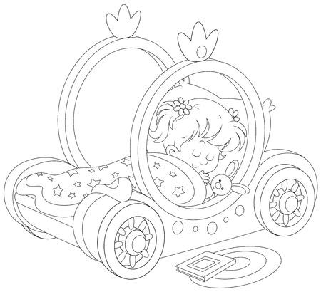 enfant qui dort: Petite fille dort dans son lit - transport d'une princesse