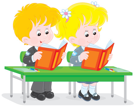 first grader: School children reading at a lesson