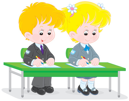 first former: School children writing