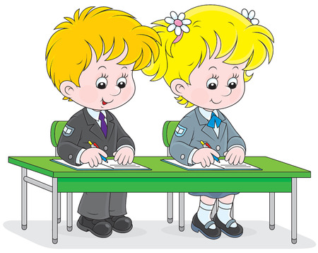 first grader: School girl and boy write in exercise books