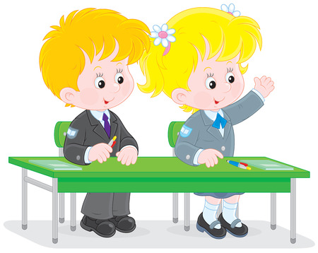 schooldays: Schoolchildren answering a question