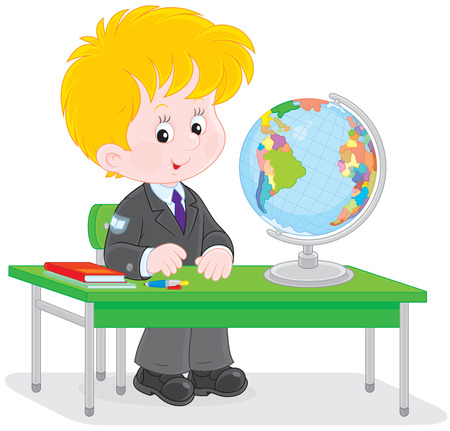 first grader: Schoolboy at geography lesson